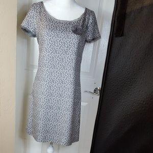 J.CREW  Gray Ivory Raw Hem Polka Dot Silk Dress